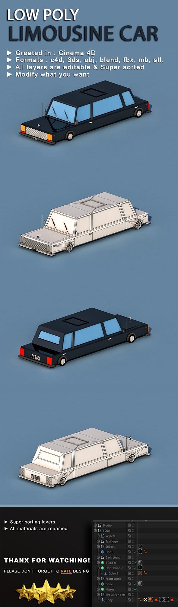 Cartoon Limousine Car - 3DOcean Item for Sale