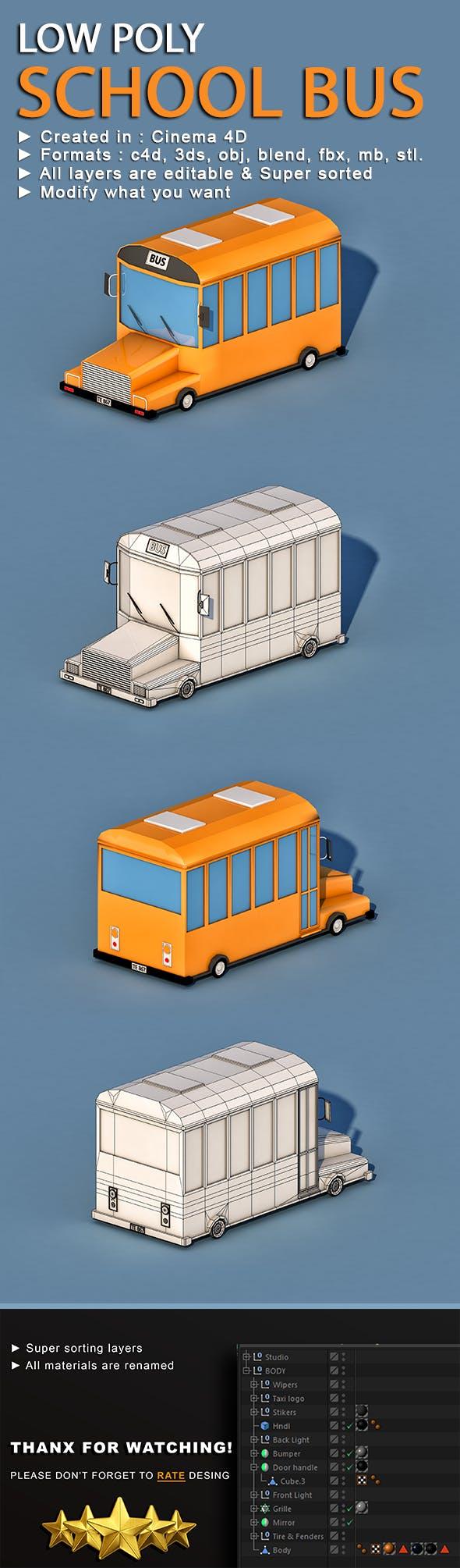 Cartoon School Bus - 3DOcean Item for Sale