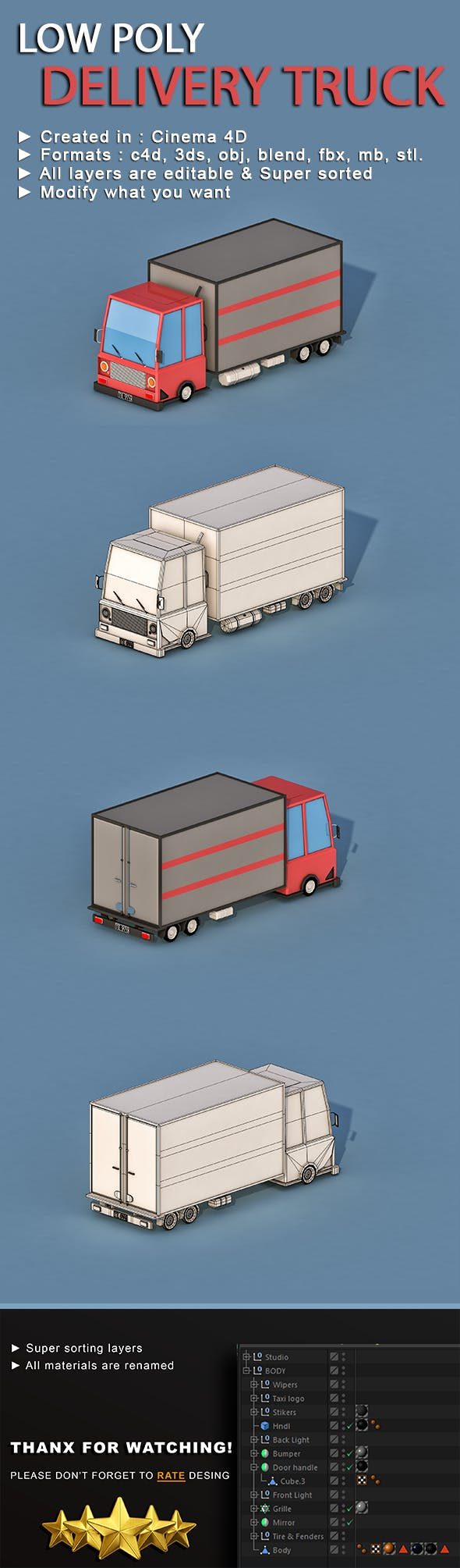 Cartoon Delivery Truck - 3DOcean Item for Sale