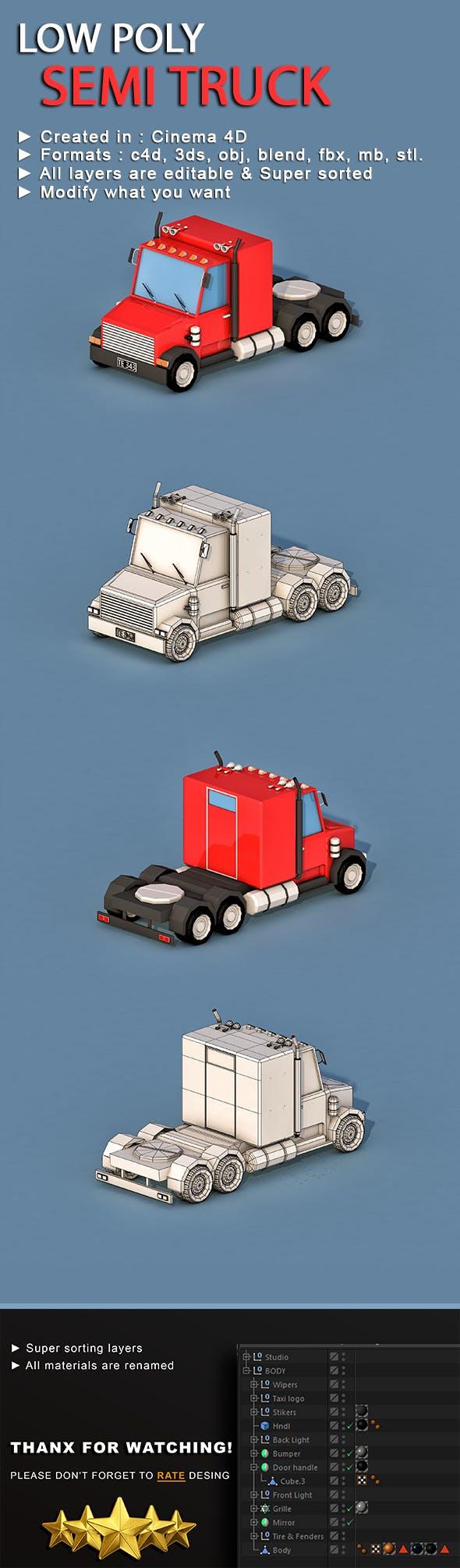 Cartoon Semi Truck - 3DOcean Item for Sale