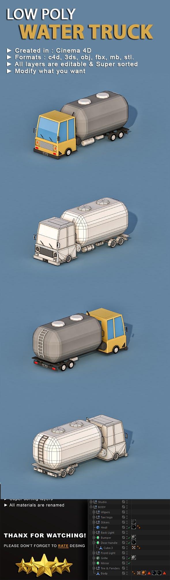 Cartoon Water Truck - 3DOcean Item for Sale