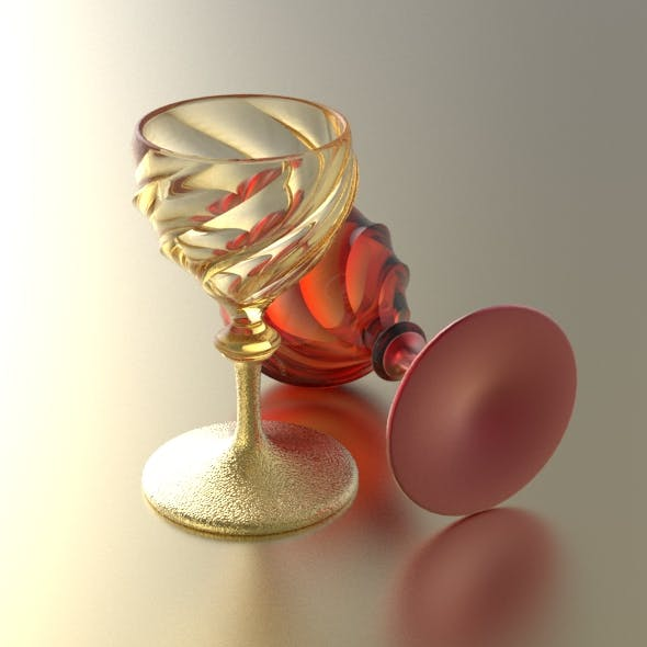 Swirly Wineglass with Separate Stem - 3DOcean Item for Sale