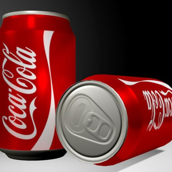 Low poly aluminium Coke can