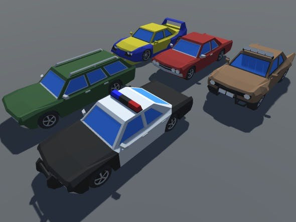 Low Poly 5 Muscle Cars Pack MOBILE READY - 3DOcean Item for Sale