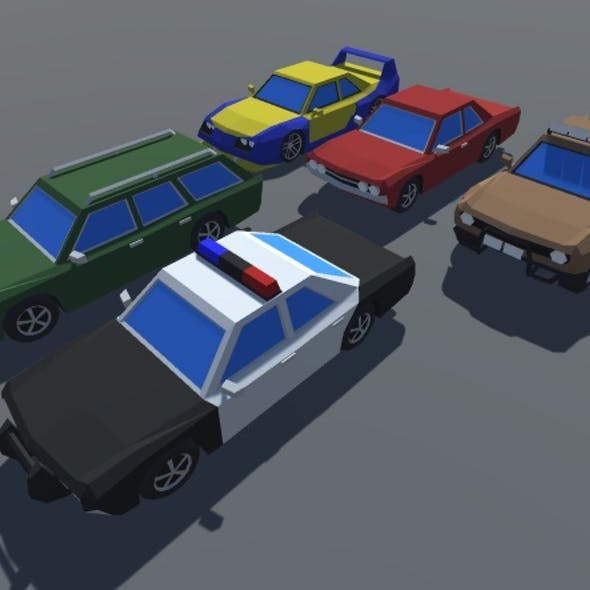 Low Poly 5 Muscle Cars Pack MOBILE READY