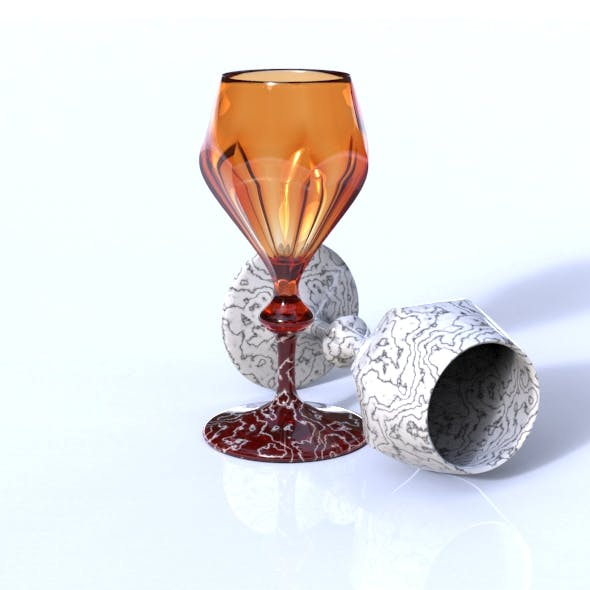 Faceted Wine Glass - 3DOcean Item for Sale