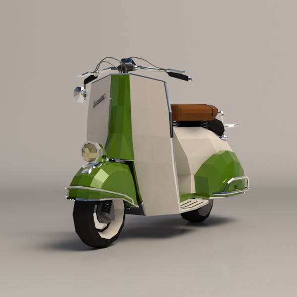 Low Poly Cartoon Vespa Scooter