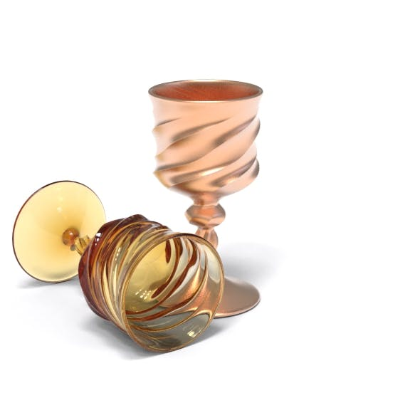 Wavy Twisted Wine Glass - 3DOcean Item for Sale