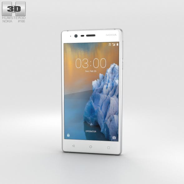 Nokia 3 Silver White - 3DOcean Item for Sale