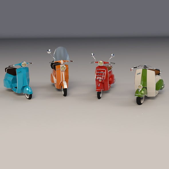 Low Poly Cartoon Scooter Pack - 3DOcean Item for Sale