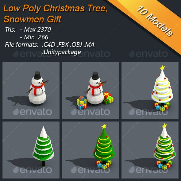 Low Poly Christmas Tree And Snowmen Gift