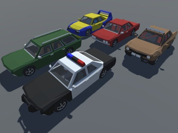 Low Poly 5 Muscle Cars With Interior Pack GAME READY - 3DOcean Item for Sale