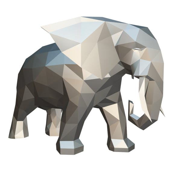 elephant figure low poly 2