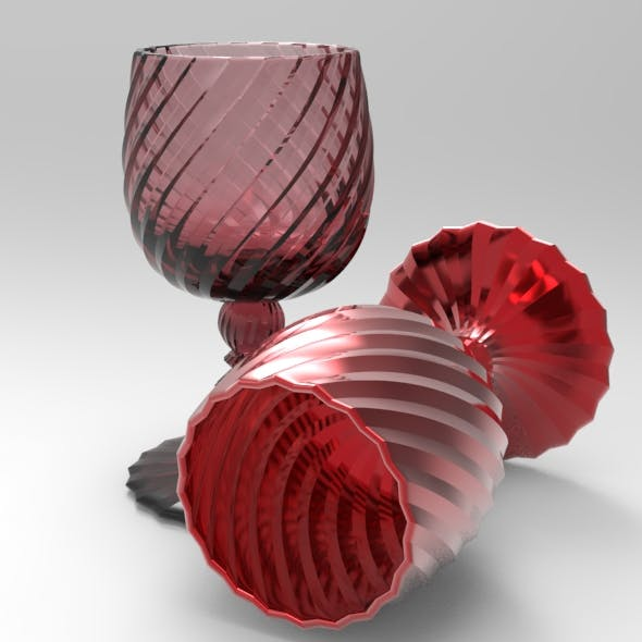 Sixty Facet Wine Glass Swirly - 3DOcean Item for Sale