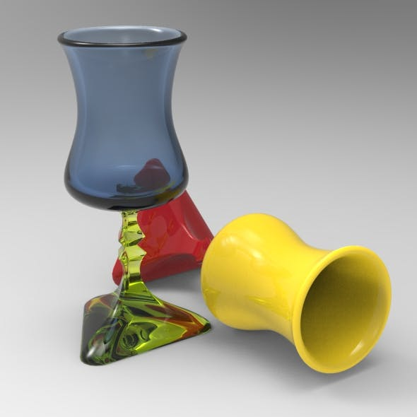 Triangular Stem Spirit Glass - 3DOcean Item for Sale