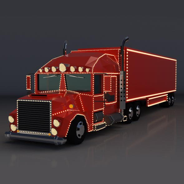 Low Poly Cartoon Christmas Truck - 3DOcean Item for Sale