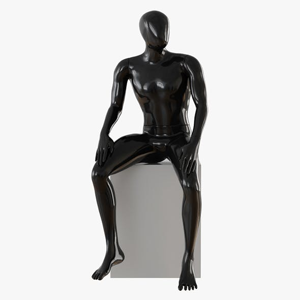 Abstract male mannequin sitting 03