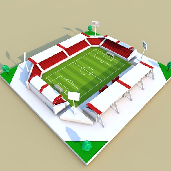 low poly football stadium - 3DOcean Item for Sale