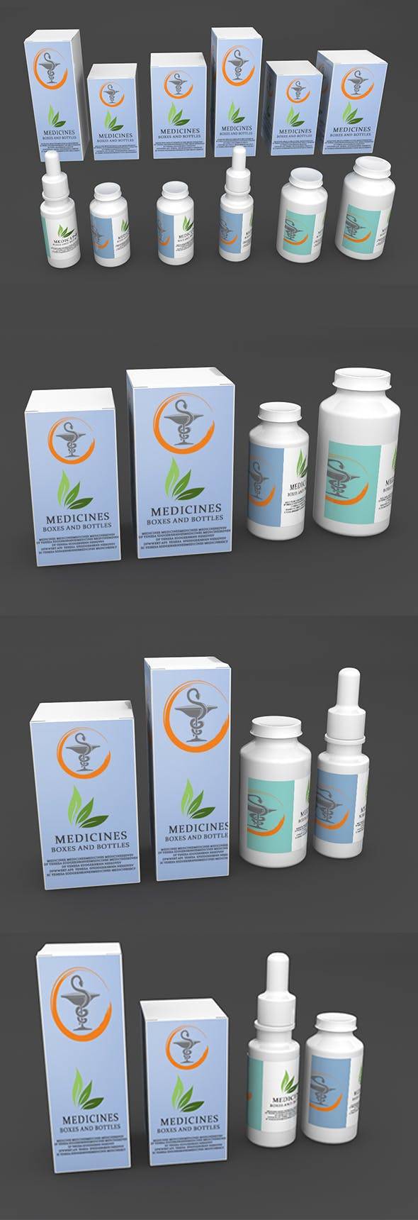 Medicines in boxes and bottles - 3DOcean Item for Sale