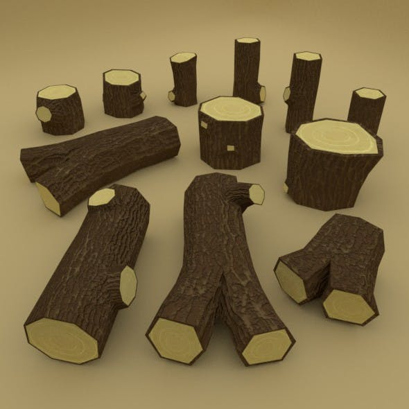 Low poly stumps and logs pack - 3DOcean Item for Sale