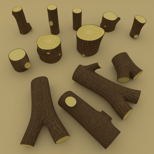 Middle-poly stumps and logs pack - 3DOcean Item for Sale