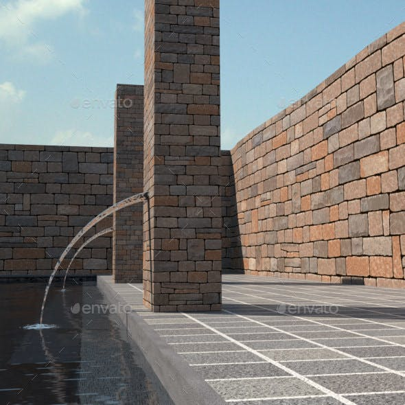Gray and red brown rectangle (random size) basalt stone wall textures