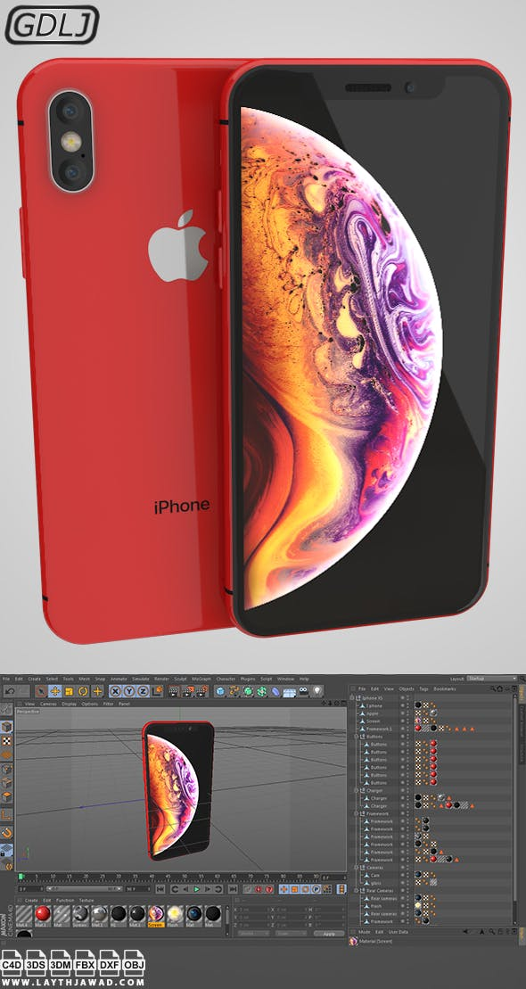 Iphone XS Red - 3DOcean Item for Sale