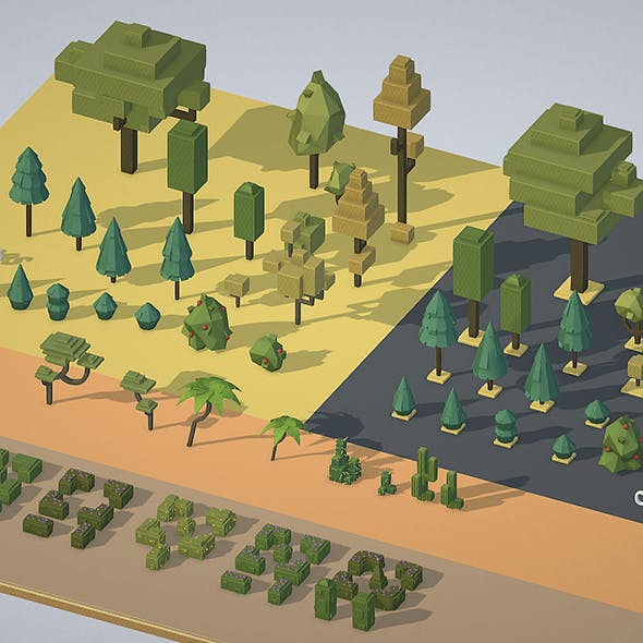 isometric wild garden desert & city trees pack - 3DOcean Item for Sale