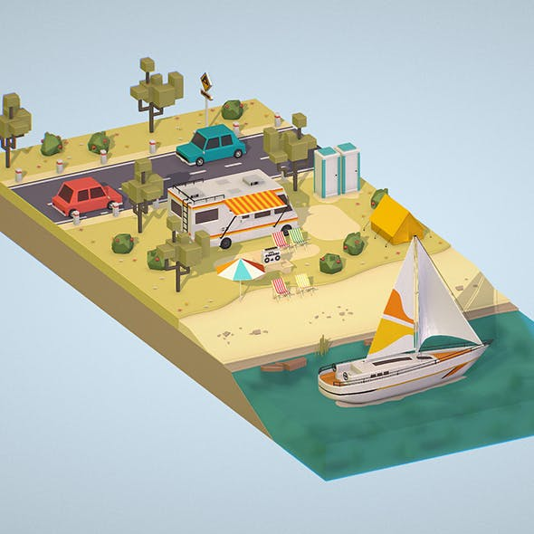 isometric camping scene on the river