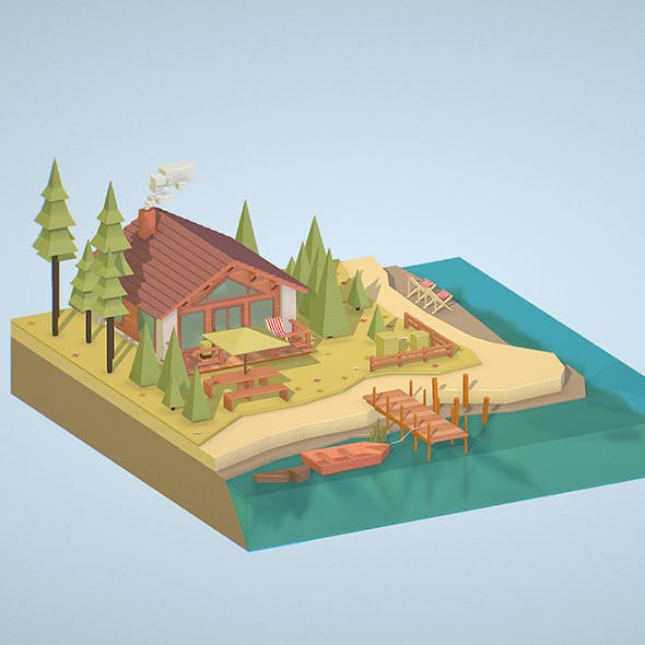 isometric old hunting lodge on the river