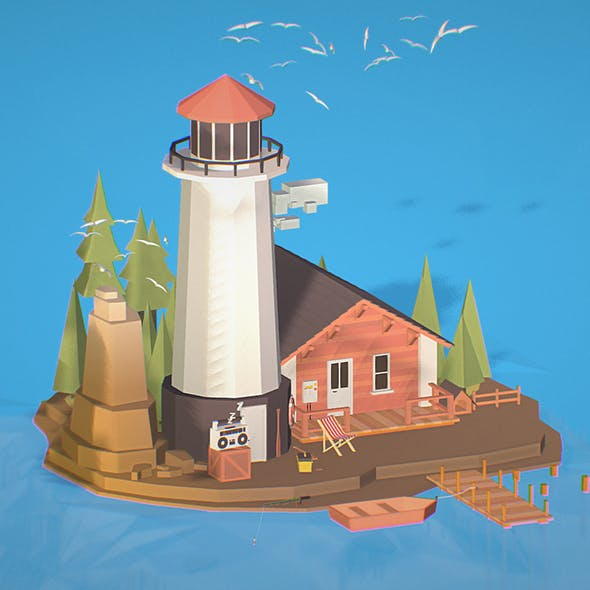 isometric island lighthouse fisherman house