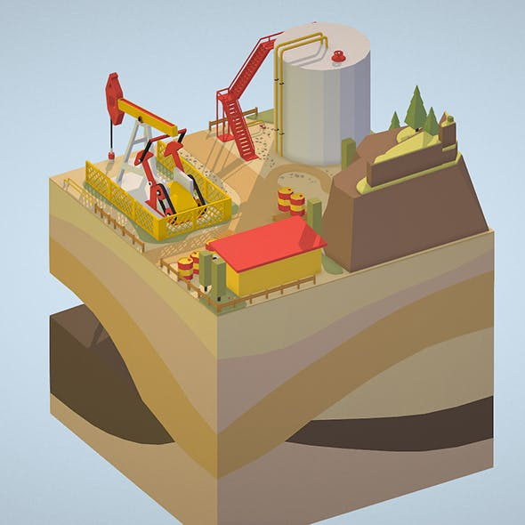 Isometric oil field extracting crude oil - 3DOcean Item for Sale