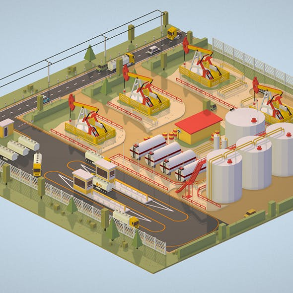 Isometric Oil Field Extracting Crude Big Base - 3DOcean Item for Sale