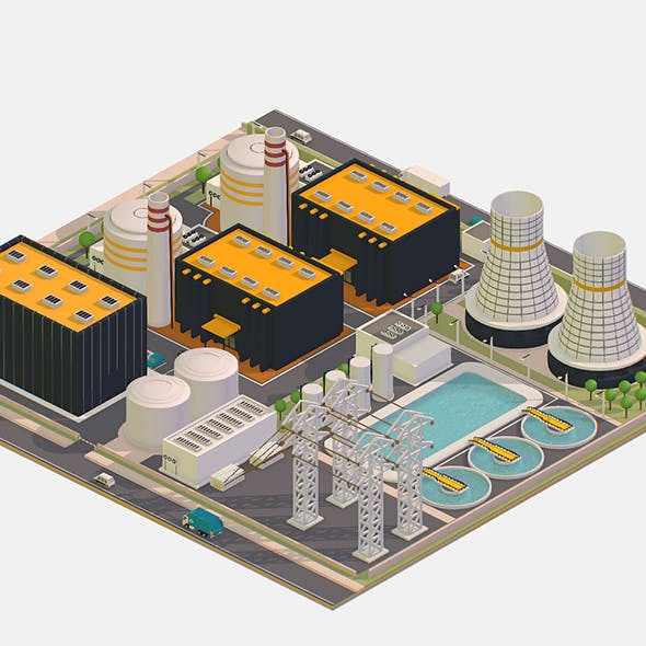 Isometric Presenting Nuclear Power Station. - 3DOcean Item for Sale