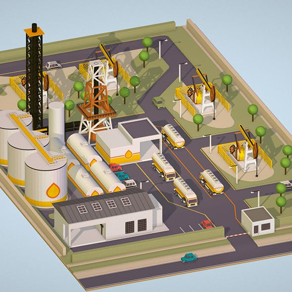 Isometric set representing oil field extracting crude oil