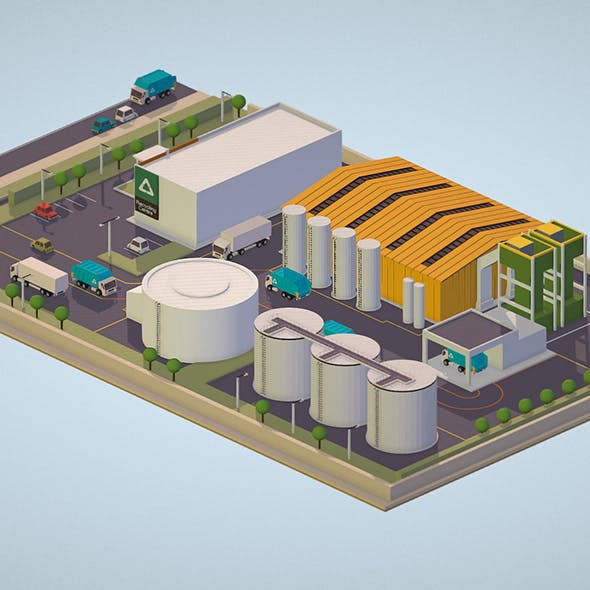 Isometric 3d model Waste Recycling Plant