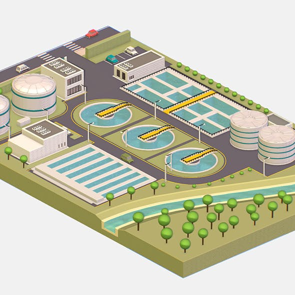 Isometric Water Treatment Plant - 3DOcean Item for Sale