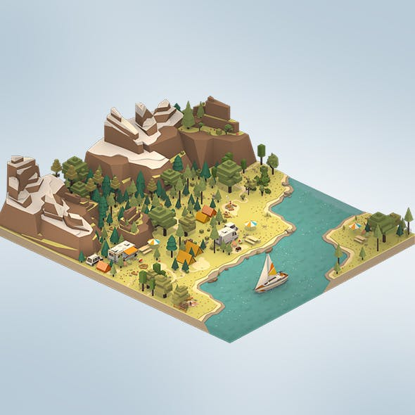 isometric style camping level constructor