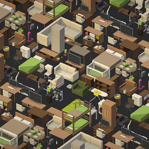 isometric style furniture - 3DOcean Item for Sale