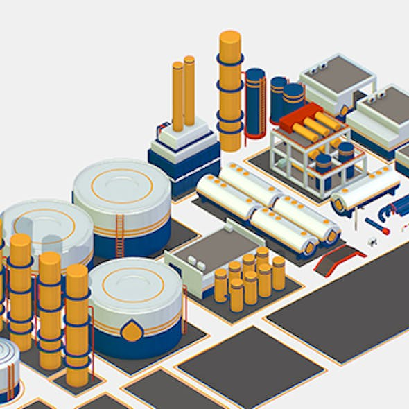 Isometric Oil Pipe Barrel Idustry Build Constructor