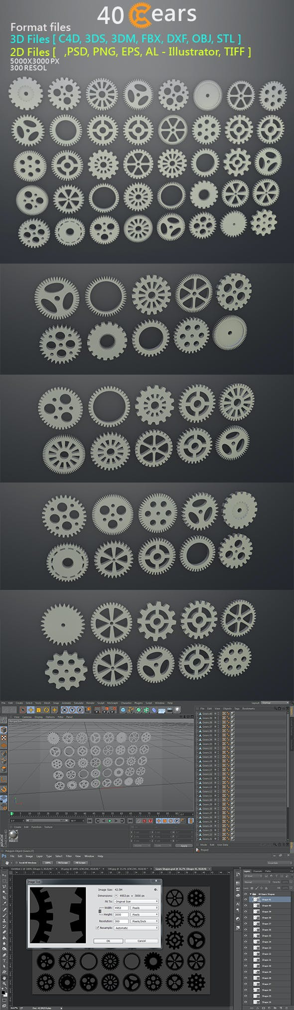 40 Gears 3D&2D Format files - 3DOcean Item for Sale
