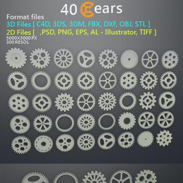 40 Gears 3D&2D Format files