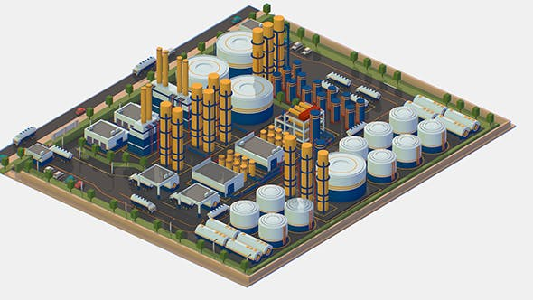 Isometric Complex Crude Oil Processing Plant - 3DOcean Item for Sale