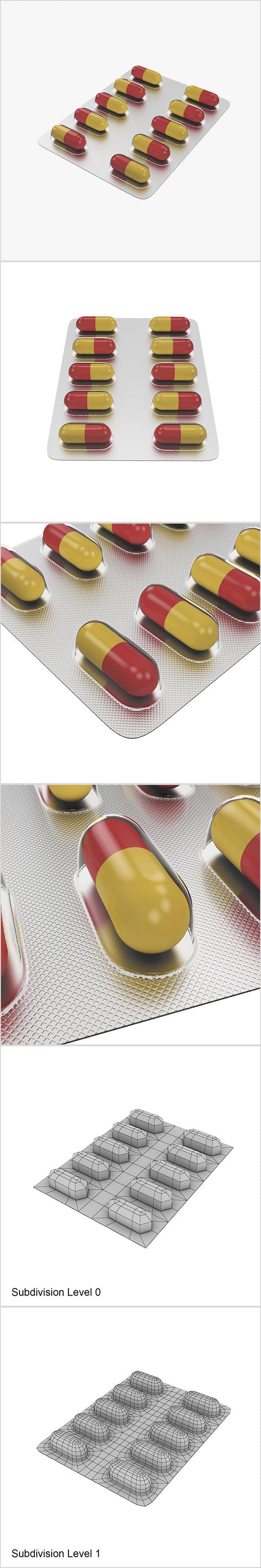 Pills in blister pack - 3DOcean Item for Sale