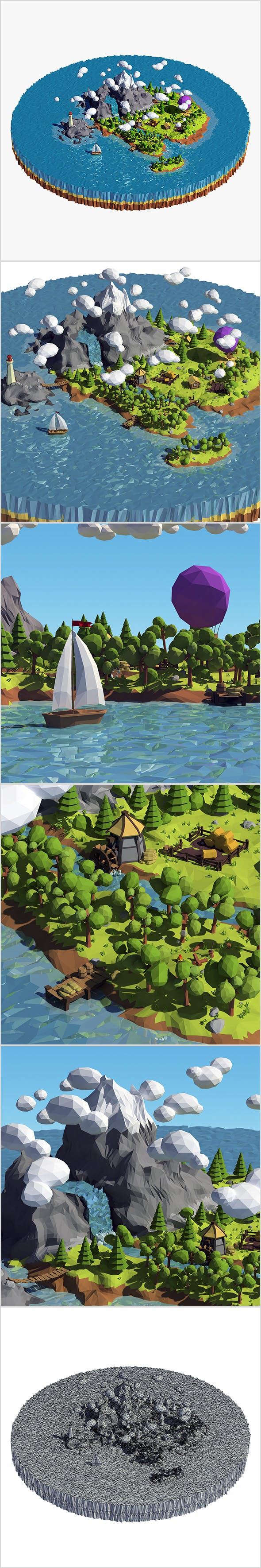 Cartoon island low poly - 3DOcean Item for Sale