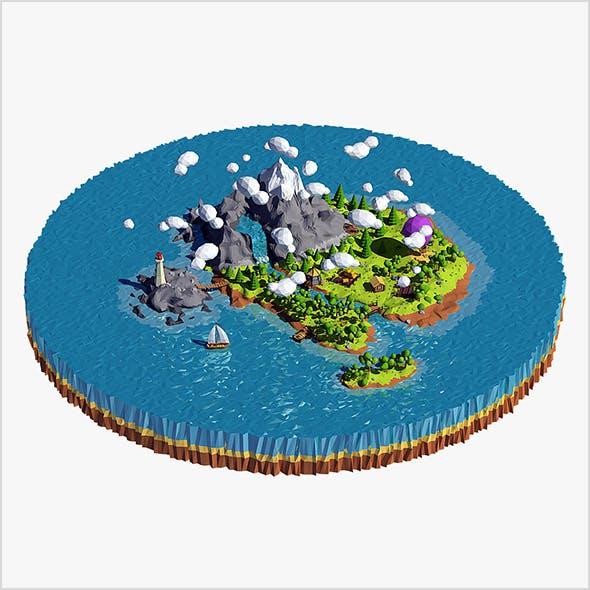 Cartoon island low poly