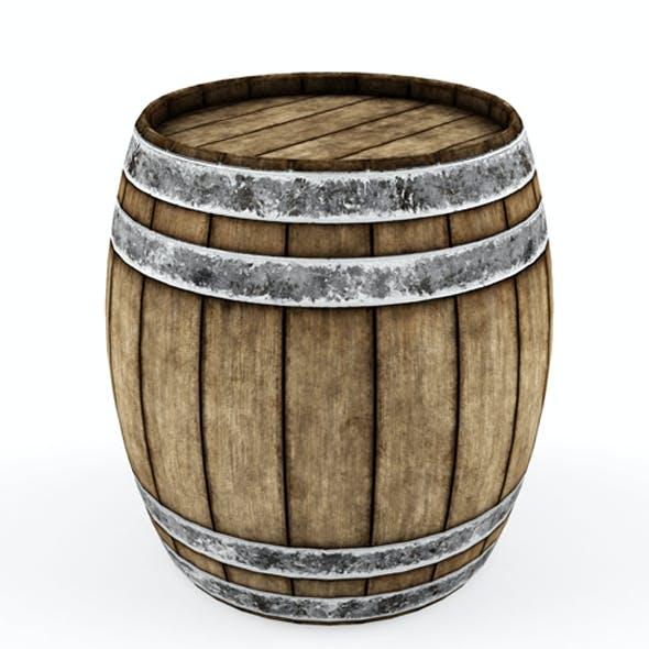 Lowpoly model Old wooden barrel.