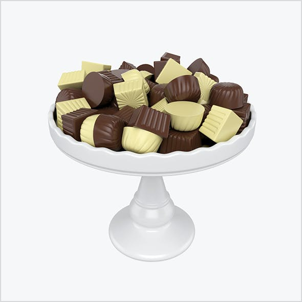 Chocolate candy on tray