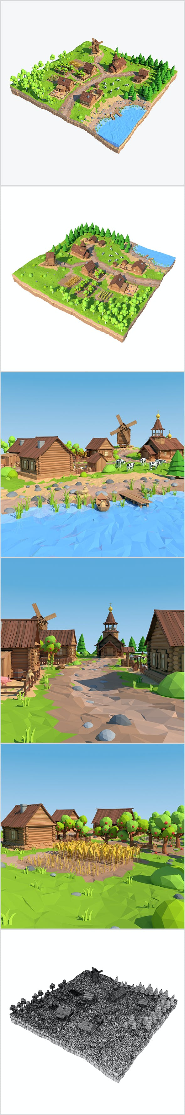 Cartoon Low Poly Village - 3DOcean Item for Sale
