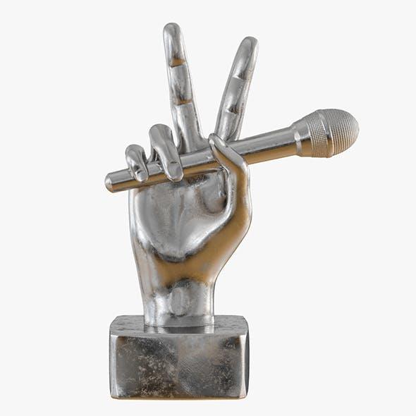 Figurine hand with a microphone